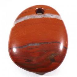Pendentif galet plat en jaspe rouge 4cm