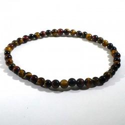 Bracelet Oeil de tigre, taureau, faucon perles rondes 4mm