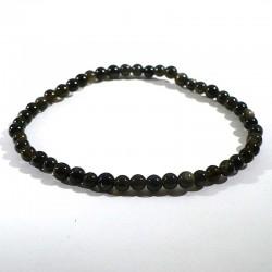 bracelet en obsidienne dorée perles rondes 4mm