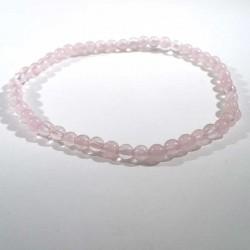 Bracelet en Quartz Rose perles rondes 4mm