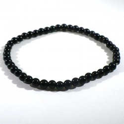 bracelet en obsidienne oeil celeste perles rondes 4mm