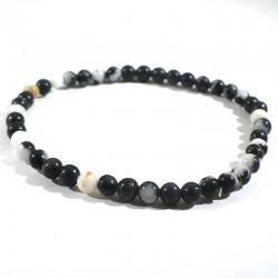 bracelet en marbre zebre perles rondes 4mm