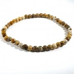Bracelet en jaspe paysage perles rondes 4mm