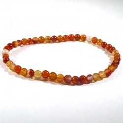 bracelet en cornaline perles rondes 4mm