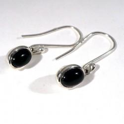 boucles d'oreilles pendantes ovales en onyx noir et argent