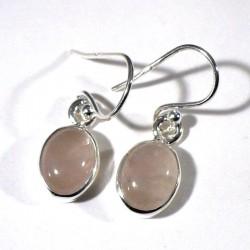 boucles d'oreilles en quartz rose ovales serties argent