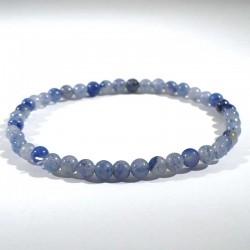 Bracelet en quartz bleu (rutile) perles rondes 4mm