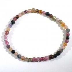 Bracelet en tourmaline multicolore perles rondes 4mm