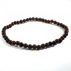bracelet en obsidienne acajou perles rondes 4mm