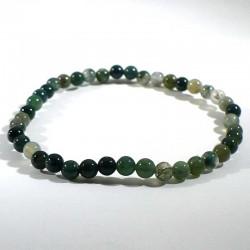 bracelet en agate mousse perles rondes 4mm