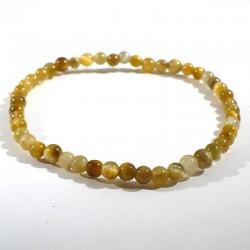 bracelet en oeil de tigre doré perles rondes de 4mm