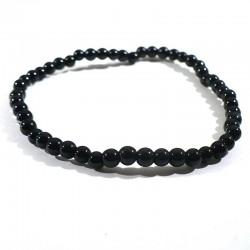 bracelet en tourmaline noire perles rondes 4mm