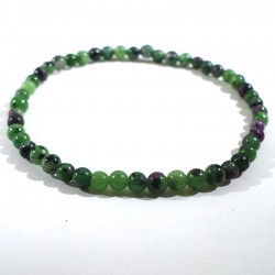 bracelet en rubis zoïsite perles rondes 4mm