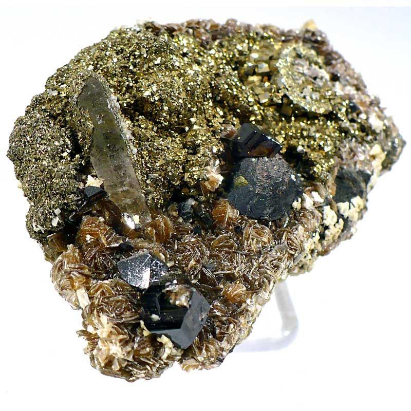 Cassitérite, pyrite, quartz sur blende du Portugal