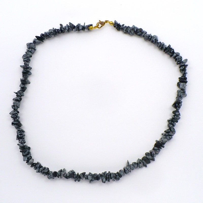 Collier baroque Obsidienne neige 42 cm