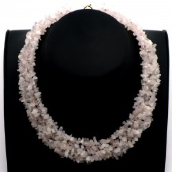 Collier baroque 5 rangs Quartz rose 42cm