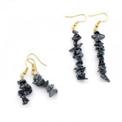 Boucles d'oreilles baroque en Obsidienne neige