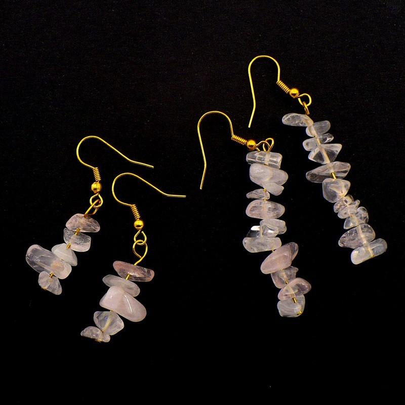 Boucles d'oreilles baroques en Quartz rose