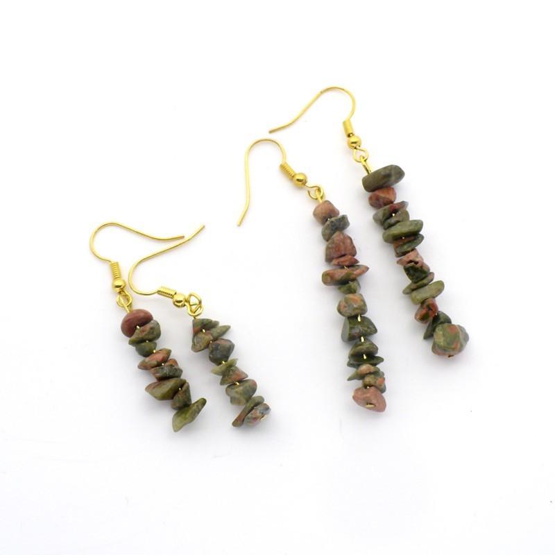 Boucles d'oreilles baroques en Unakite