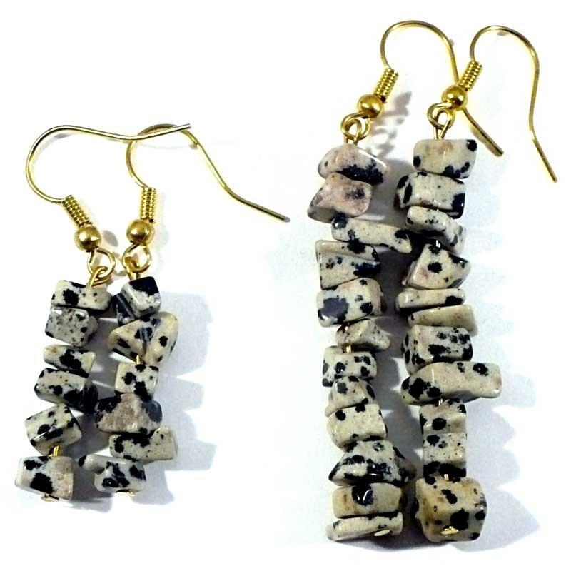 Boucles d'oreilles baroque Jaspe dalmatien