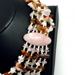 Collier quartz rose et cornaline 6 rangs