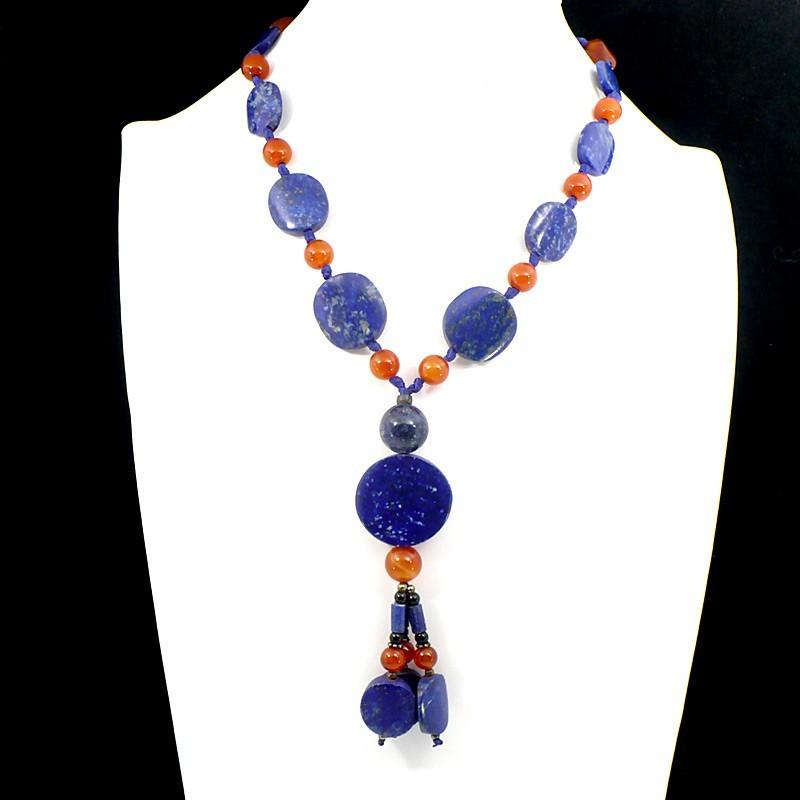 Collier afghan en Lapis-Lazuli et cornaline