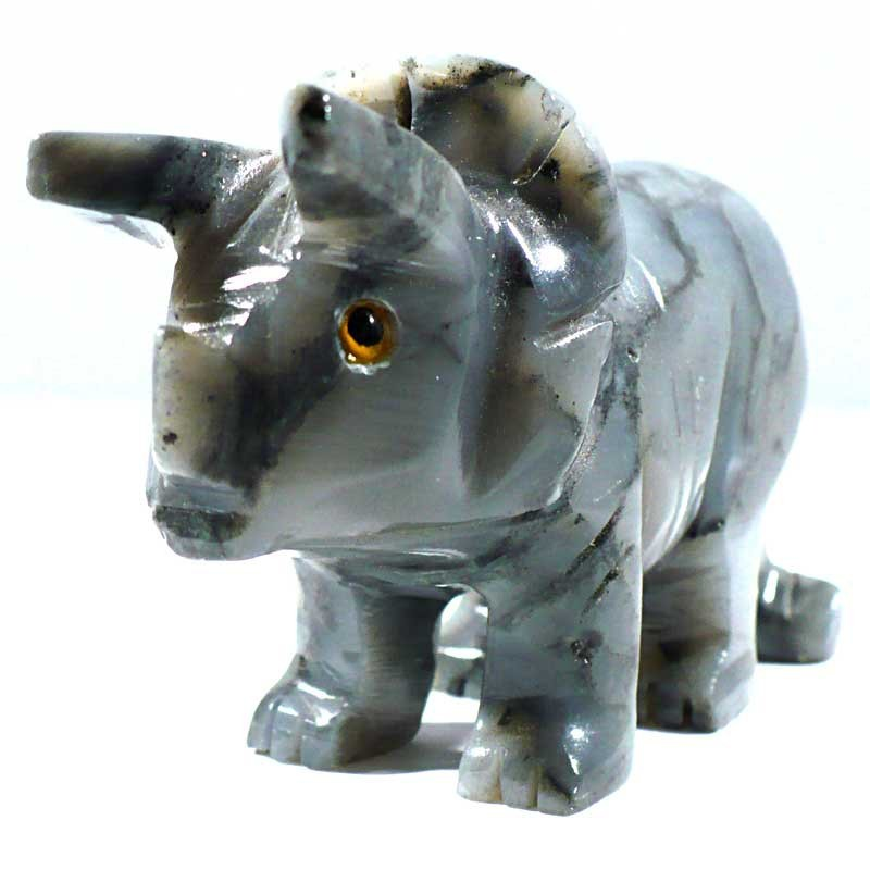 Tricératops en stéatite du Pérou 8cm - figurine de collection