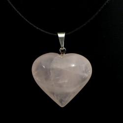 Pendentif coeur en quartz rose 2cm