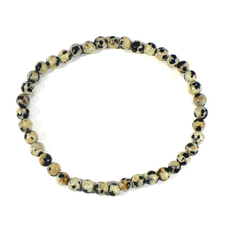 bracelet en jaspe dalmatien boules de 4mn