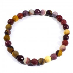 bracelet perles facettées en mookaïte 6mm