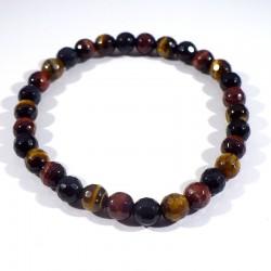 bracelet perles facettées 6mm en oeil de tigre, de boeuf, de faucon