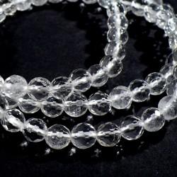 bracelet perles facettées 6mm en cristal de roche
