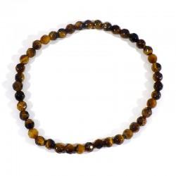 bracelet perles facettées 4mm en oeil de tigre