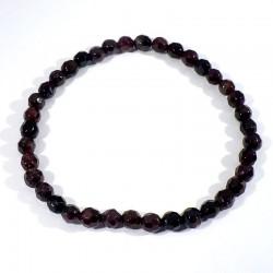 bracelet perles facettées 4mm en grenat extra