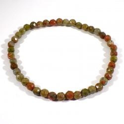bracelet en unakite (épidote) perles facettées 4mm
