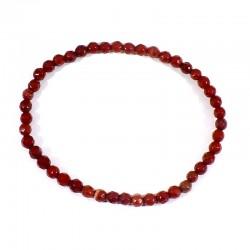 bracelet en jaspe rouge perles facettées 4 mm
