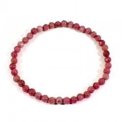 bracelet en rhodonite perles facettées 4mm