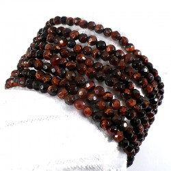 bracelet en oeil de taureau perles facettées 4mm