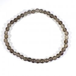 bracelet en quartz fumé perles facettées 4mm