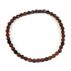 bracelet en obsidienne acajou perles facettées 4mm