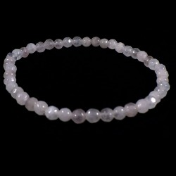 bracelet en quartz rose perles facettées 4mm