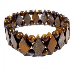 bracelet en oeil de tigre losanges et boules