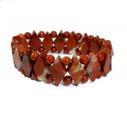 bracelet en jaspe rouge losanges