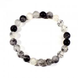 bracelet en quartz tourmaline boules 6mm
