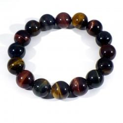 bracelet oeil de tigre, taureau, faucon perles rondes 12mm
