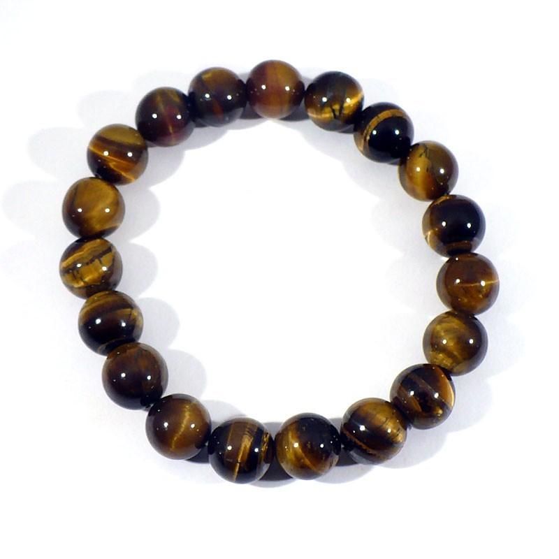 bracelet en oeil de tigre perles rondes 10mm