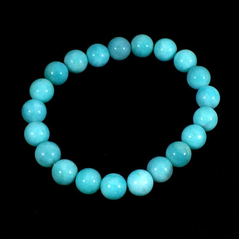 bracelet en amazonite perles rondes 10mm