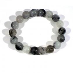 bracelet en quartz tourmaline perles rondes 10mm