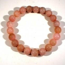 bracelet en opale rose perles rondes 8mm
