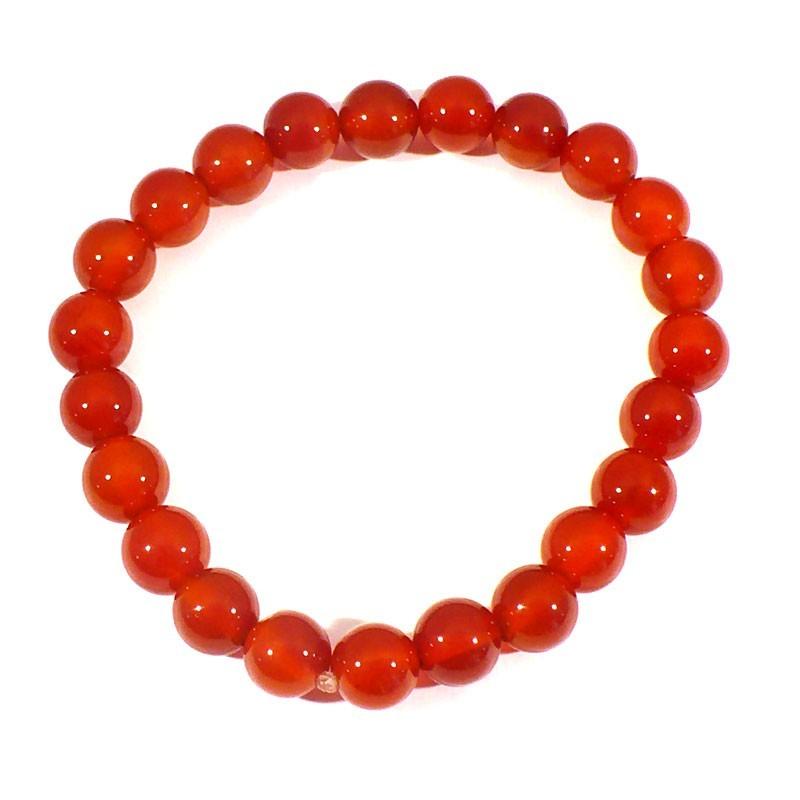 bracelet en cornaline perles rondes 8mm